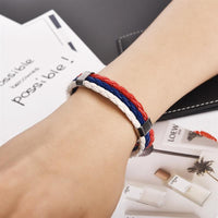 Red, Blue and White Leather Bracelet