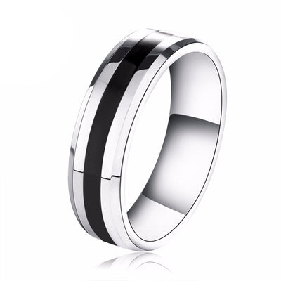 Silver & Black Steel Ring