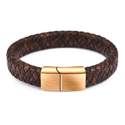 Brown Leather Magnetic Gold Clasp Bracelet