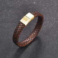 Brown Leather Gold Clasp Bracelet UK