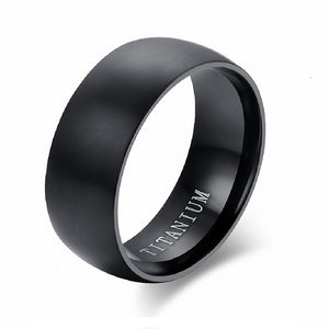 Solid Black Titanium Ring