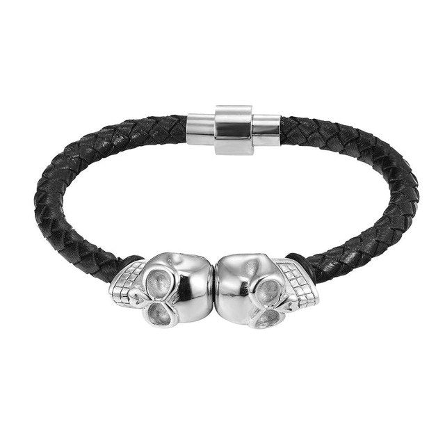 Silver Skull Leather Magnetic Bracelet