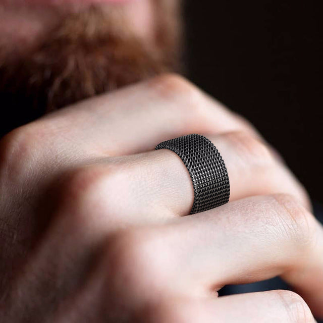 Stainless Steel Black Flexi Ring