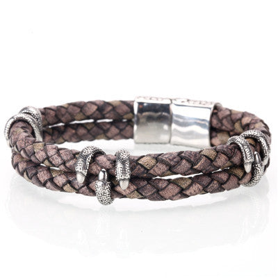 Leather Steel Claw Bracelet
