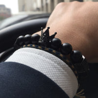 black crown bead bracelet for mens
