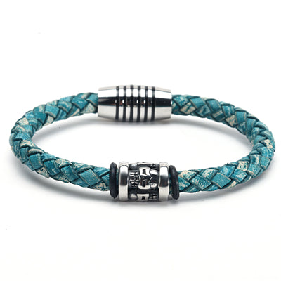 Green Leather & Steel Skull Bracelet