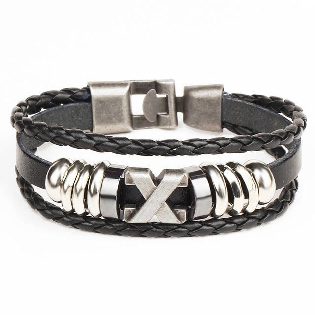 Triple Leather X Bracelet