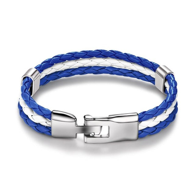 Blue and White Leather Bracelet