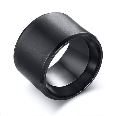 Wide Black Steel Mens Rings