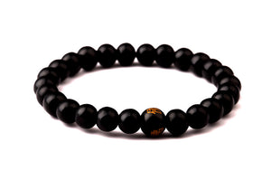 8mm Black Buddha Bead Bracelet