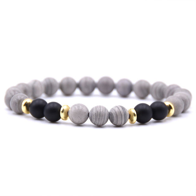 grey and black bead bracelet