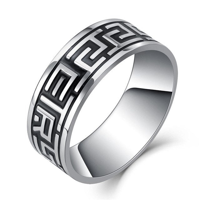 Silver Mantra Stainless Steel Rings