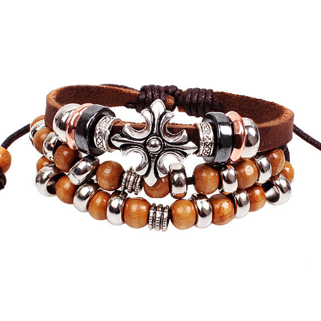 Leather Cross & Wooden Beads Bracelet