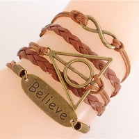 Leather/Suede Charm 'Believe Triangle' Bracelet
