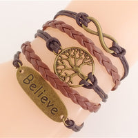 Leather/Suede Charm 'Believe' Bracelet