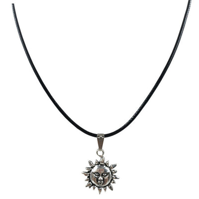 Black Choker Silver Plated Sun Face Necklace