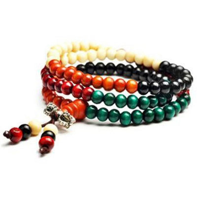 Multi Colour Wooden Bead Bracelet