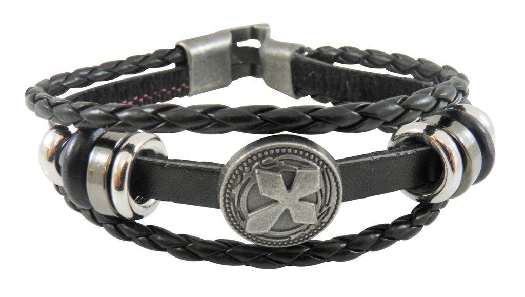 Black Leather Triple Cross Bracelet
