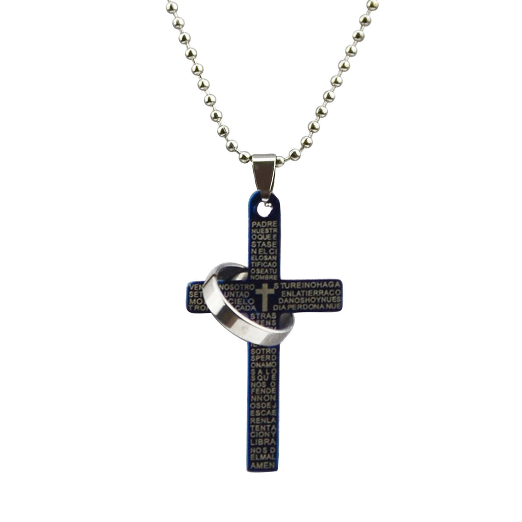 Spanish Lords Prayer Black Cross Necklace
