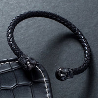 mens black leather bracelets UK