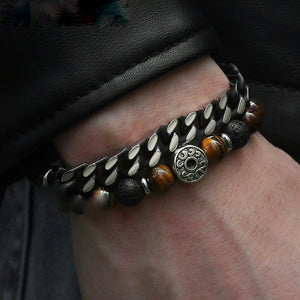best mens double bead and steel bracelet UK