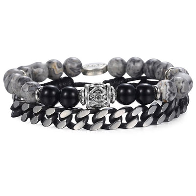 double grey stone & steel bead bracelet
