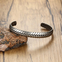 Steel Wheat Cuff Bracelet UK