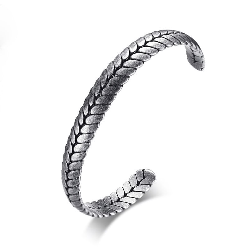 Steel Wheat Cuff Bracelet