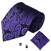 Deep Purple Jacquard Tie, Pocket Square & Cufflink Set