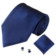 Dark Blue Lined Tie, Pocket Square & Cufflink Set