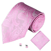 Pink Jacquard Tie, Pocket Square & Cufflink Set