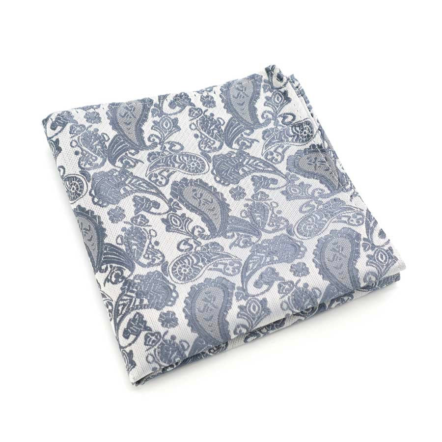 Grey Paisley Silk Pocket Square