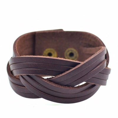 brown Leather Wave Cuff Bracelet