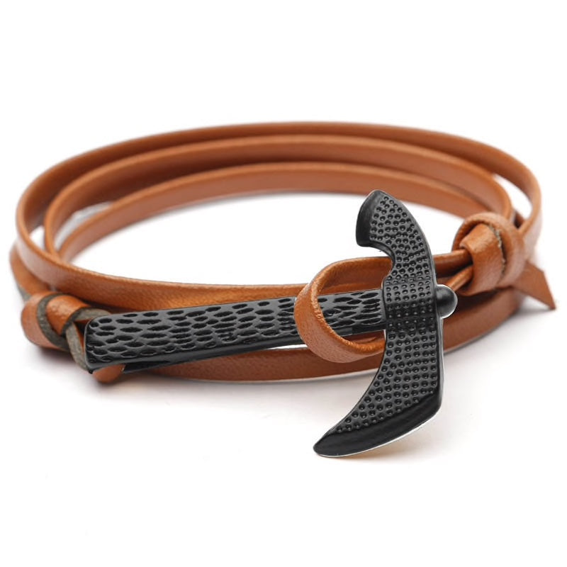 Brown Leather Axe Bracelet