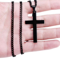 Black Stainless Steel Cross Necklace