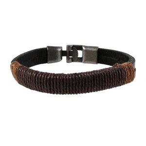 Black Leather and Rope Bracelet