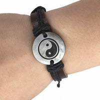 Black Leather Yin Yang Rope Bracelet
