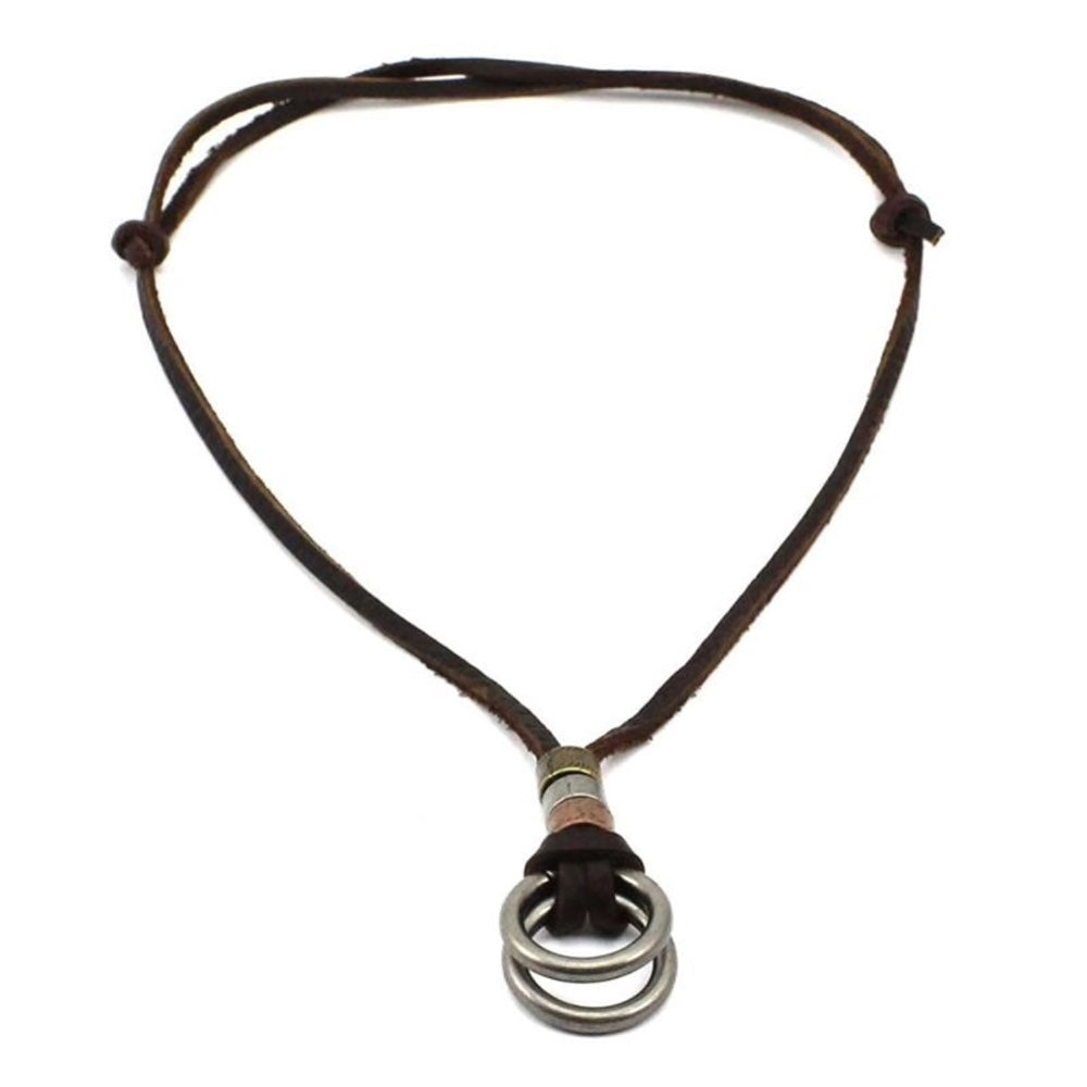 Genuine Leather Ring Pendant Necklace