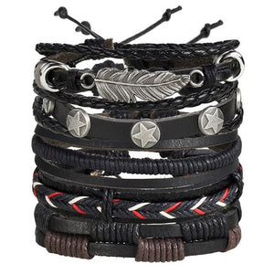 Five Leather Bracelet Set