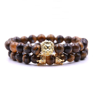 Tigers Eye Crown & Lion Bracelet Combo