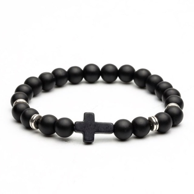 Matt Black & Silver Bead Cross Bracelet