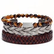 Leather, Steel & Bead Bracelet Combo