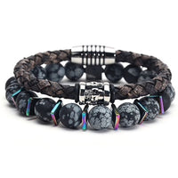 Bead & Leather Bracelet Double Combo