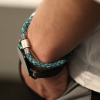 Leather Weave Turquoise Bracelet