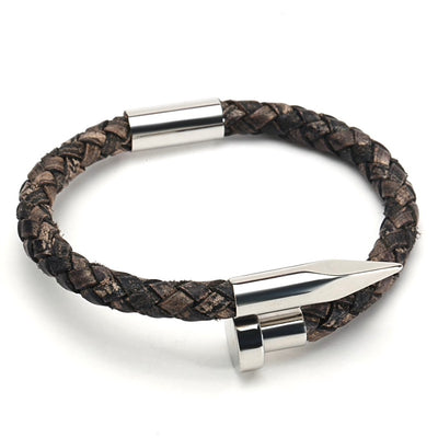Brown Leather Nail Bracelet