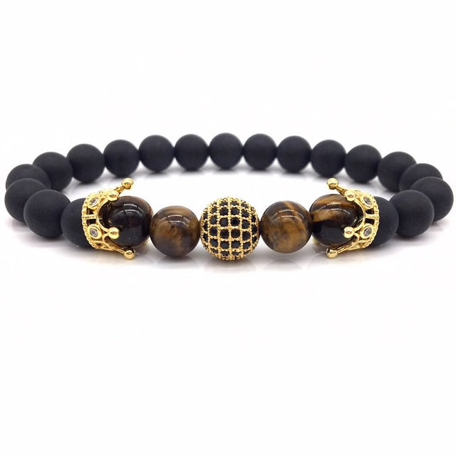 Gold Crown Bead Bracelet