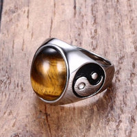 Tigers Eye Yin Yang Rings