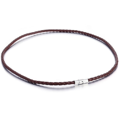 4mm Brown Leather Necklace