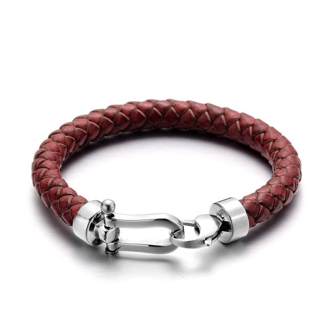 Dark Red Leather Silver Clasp Bracelet