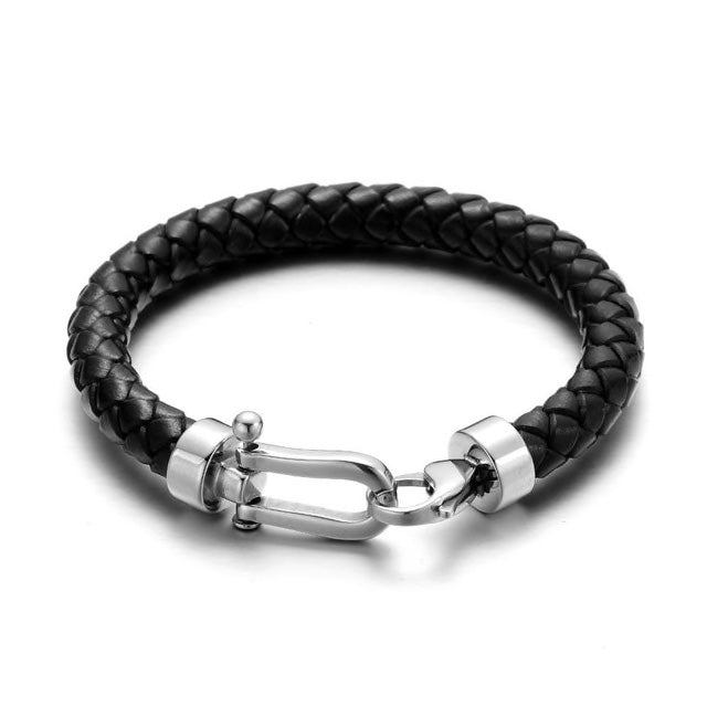 Black Leather Silver Clasp Bracelet